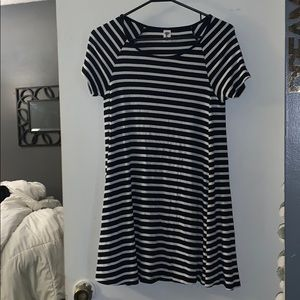 Navy and white t-shirt dress!!